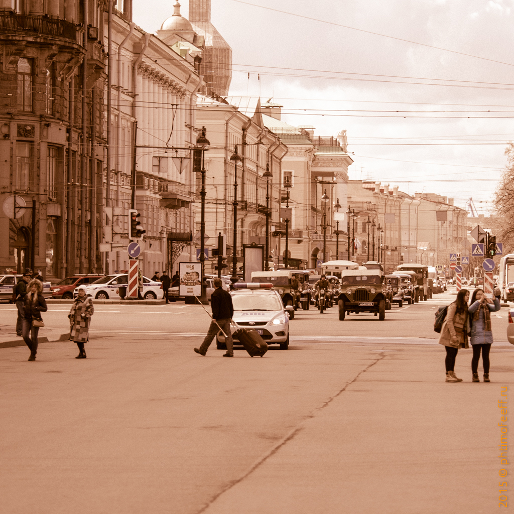 Репетиция шествия 9 мая (первый прогон МВД + Ленрезерв, часть 2)